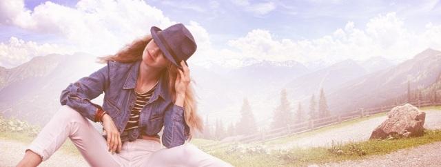 Woman hat mountains